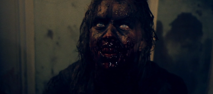 Scary makeup effects from Evil Dead type film Wither with bloody head