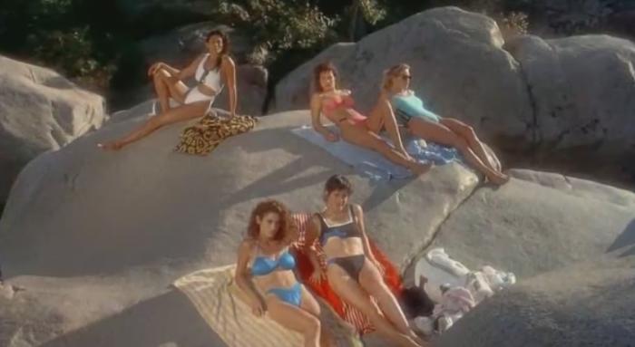 cheerleader girls hanging out in 80's slasher flick Cheerleader Camp