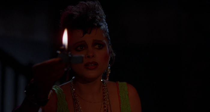 scared goth lady in Stuart Gordon's Dolls