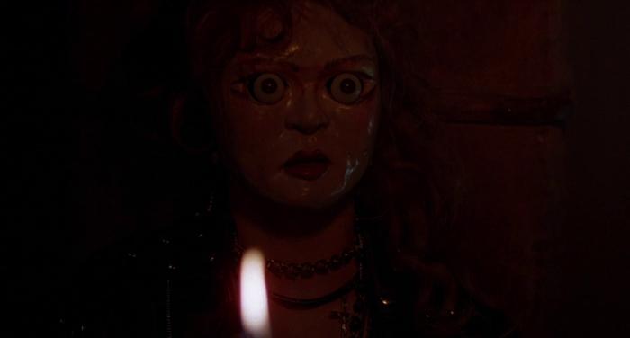 Evik creepy doll face from Dolls (1987) 101 films Blu-ray still